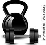 kettlebell and dumbbell | Shutterstock .eps vector #141560653