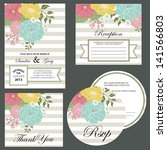 set of wedding invitation cards ... | Shutterstock .eps vector #141566803