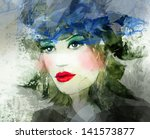 woman face. hand painted... | Shutterstock . vector #141573877