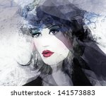 woman face. hand painted... | Shutterstock . vector #141573883