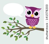 cute baby owl sitting on a... | Shutterstock .eps vector #141578203