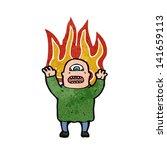 mutant ogre man on fire cartoon | Shutterstock .eps vector #141659113