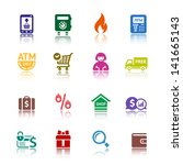 set shopping colored icons.... | Shutterstock . vector #141665143