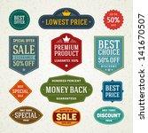 vector vintage sale label set... | Shutterstock .eps vector #141670507