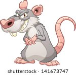 Evil cartoon rat. Vector clip art illustration with simple gradients. All in a single layer. - stock vector