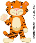cute baby tiger cartoon waving | Shutterstock .eps vector #141683557