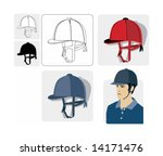 Color vector image of traditional equestrian hats/helmets. Six views, three of them can used as symbols. - stock vector