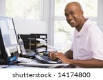 man in home office using... | Shutterstock . vector #14174800