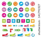 arrow sign icon set and labels.   Shutterstock .eps vector #141791527