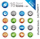 glossy buttons   sport icons   Shutterstock .eps vector #141794977