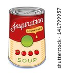 Can of condensed tomato soup Inspiration isolated on white background. Created in Adobe Illustrator. Image contains gradients and gradient meshes. EPS 8.
