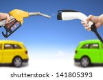 electric car and gasoline car...   Shutterstock . vector #141805393