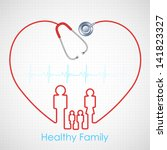 illustration of family made of stethoscope on Healthcare and Medical background