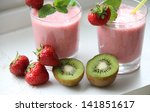 smoothies and fresh fruits on... | Shutterstock . vector #141851617