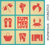 vintage summer poster with... | Shutterstock .eps vector #141862513