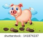 Illustration Of A Smiling Pig...
