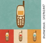 retro icons   mobile phone | Shutterstock .eps vector #141961447