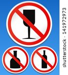 No alcohol sign - No drinking allowed signs - (with Bottle + glass symbol)
