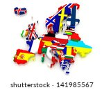 three dimensional map of europe.... | Shutterstock . vector #141985567