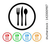 fork knife and spoon silverware ... | Shutterstock .eps vector #142000987