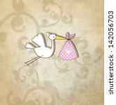 Baby Girl Shower Card   Simple...