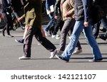 People Walking On Big City...