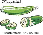 fresh zucchini courgette whole  ... | Shutterstock .eps vector #142122703