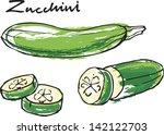 fresh zucchini courgette whole  ... | Shutterstock .eps vector #142122703