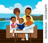 happy african american family... | Shutterstock .eps vector #142126693