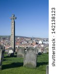 Stock photo caedmons cross an ornately carved and inscribed stone celtic cross commemorating caedmon an 142138123