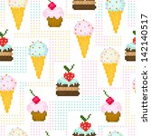 seamless pattern with pixel... | Shutterstock .eps vector #142140517