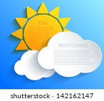 vector sun with clouds... | Shutterstock .eps vector #142162147