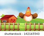 illustration of a hen above the ... | Shutterstock . vector #142165543