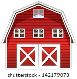 illustration of a red barn... | Shutterstock . vector #142179073
