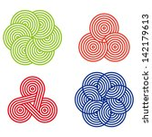 Design round logo element. Abstract wave vector template set. Chinese knots icon.