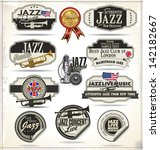 jazz music stamps and labels | Shutterstock .eps vector #142182667