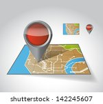 city map with marker ... | Shutterstock . vector #142245607