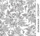 vintage floral pattern white... | Shutterstock .eps vector #142261447