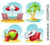 beach icon set | Shutterstock .eps vector #142269913
