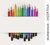 coloring pencils with copy... | Shutterstock .eps vector #142297513