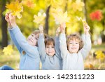happy children with maple... | Shutterstock . vector #142311223