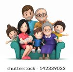 3d Render Of Grandparents With...