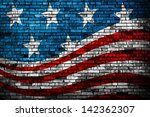 American Flag Style Brick Wall...