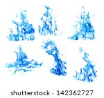 Set Of Blue Flames Isolated On...