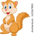 cute squirrel cartoon | Shutterstock .eps vector #142367803