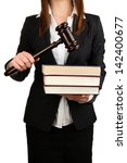 Woman Holding Wooden Gavel And...