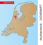 map of netherlands with islands ... | Shutterstock .eps vector #142404697