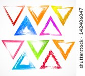 Vector set of colorful grunge triangle brush strokes.