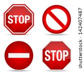 stop sign  set. vector... | Shutterstock .eps vector #142407487