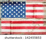 grunged up american flag on... | Shutterstock . vector #142455853